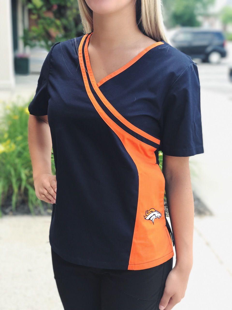 Denver Broncos Women/'s Mock Wrap Scrub Top