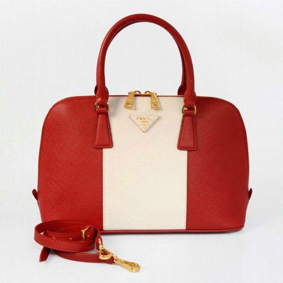 7c398ba11154 2014 prada uk Saffiano Two Handle Bag BL Red White Leather P70 £610.37 £