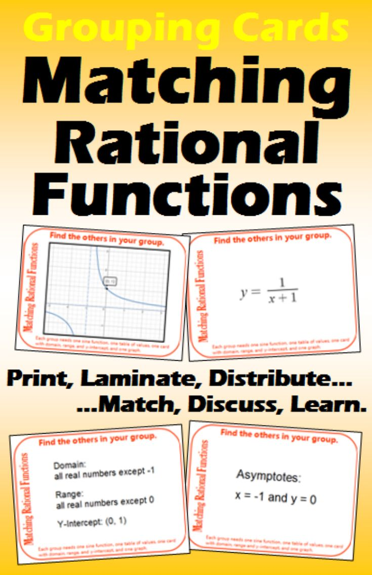 Grouping Cards Matching Rational Functions Rational Function