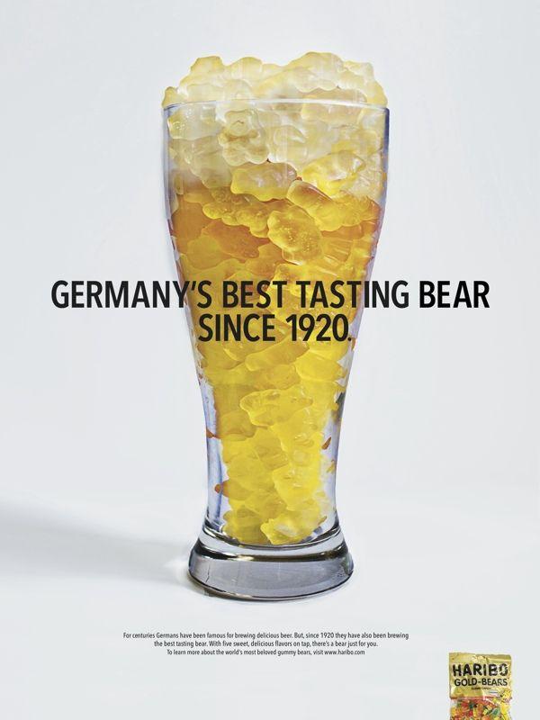 Haribo Gold Bears: Bear over Beer by H.Sally Lee, via Behance