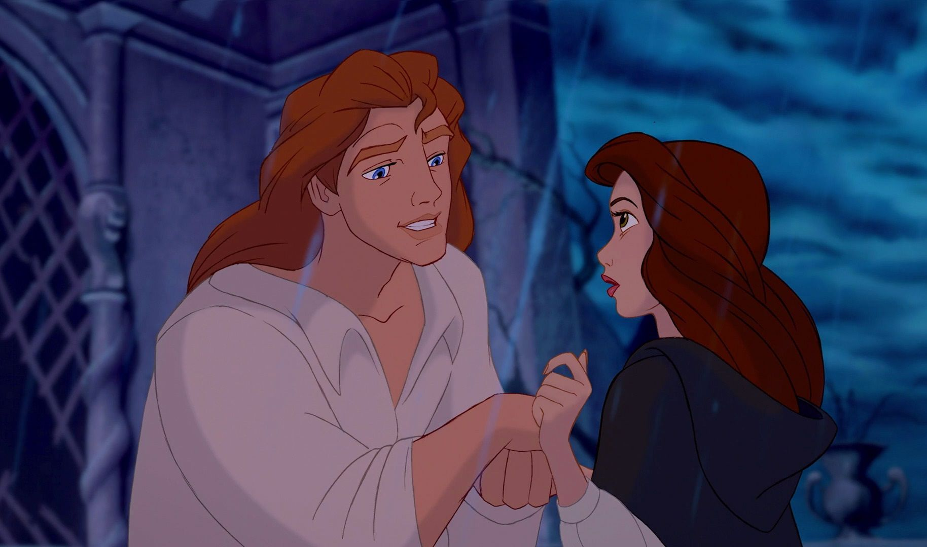 belle and prince adam after the transformation of the beast into a dan stevens shows off luxurious new mane for disney s live action beauty and the beast
