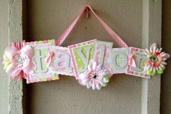 Kid's Name Sign--Pink, Green, White--Personalize--GIRL--Baby--Kid--Nursery Decor--Kid's Room