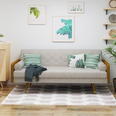 Le House Orlando Mid Century Modern Tufted Fabric Sofa Beige