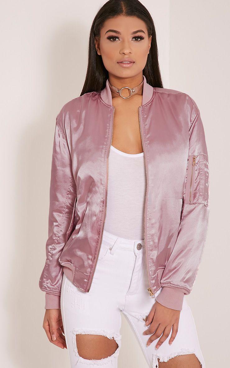 Cruz Dusty Pink Satin Bomber Jacket Coats & Jackets