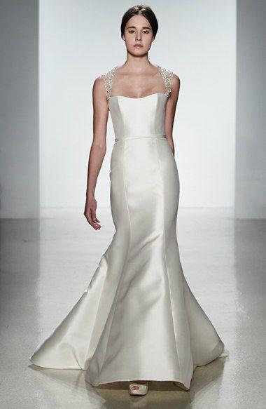 Amsale \'Lenox\' Beaded Illusion Strap Silk Blend Trumpet Dress (In ...