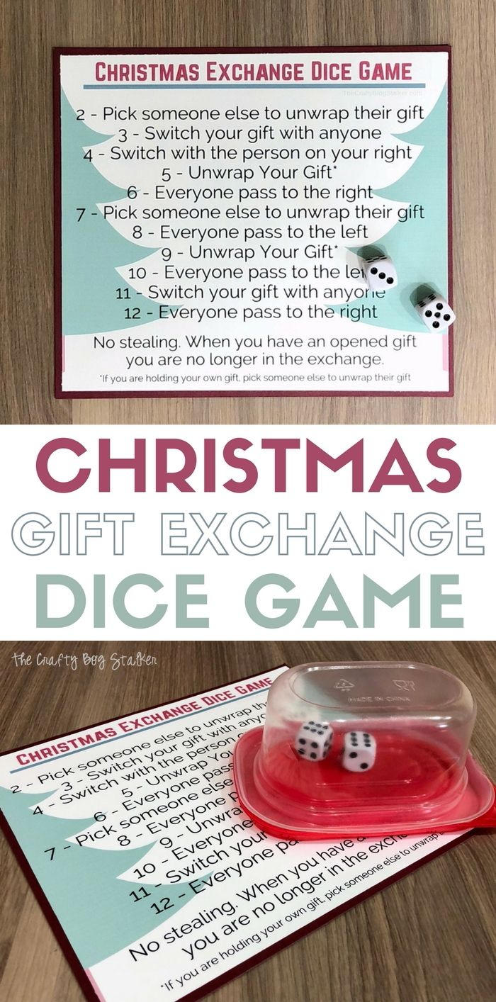 Christmas Gift Exchange Dice Game with Free Printable