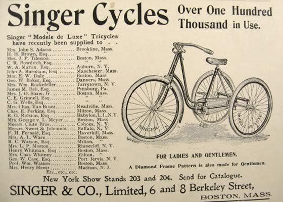 1896 Singer Bicycle Tricycle Ad List Of Owner S Names Vintage