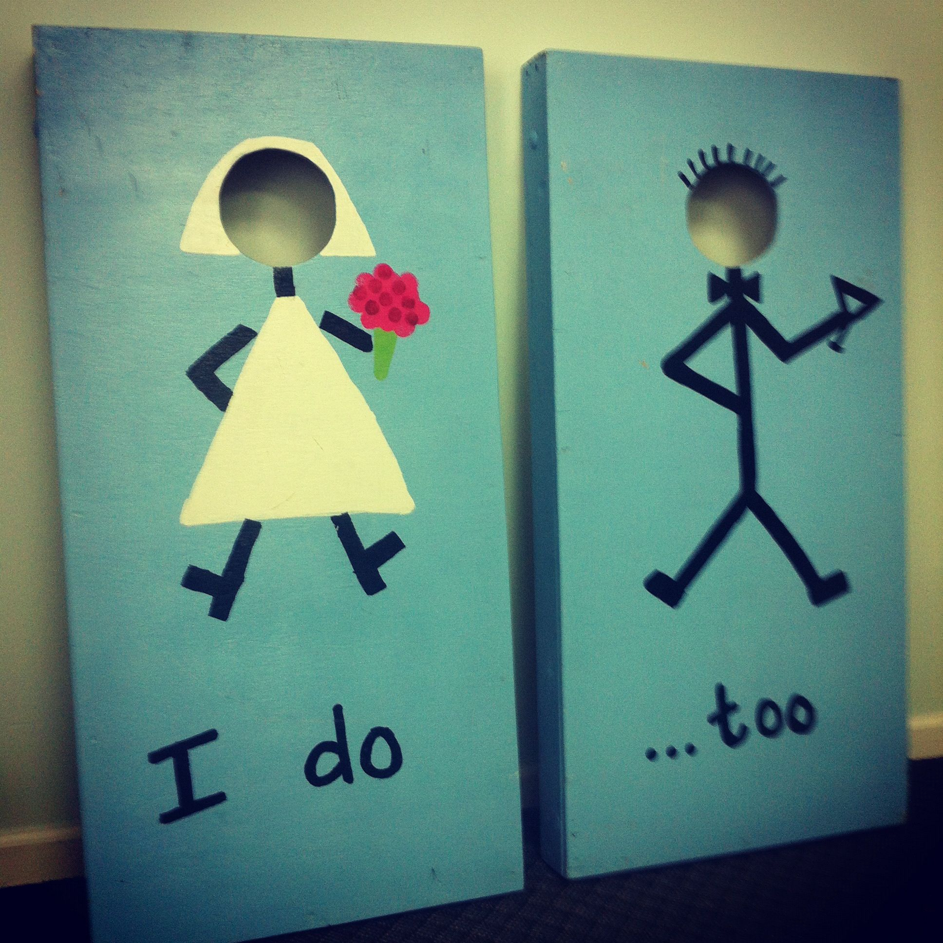 Cornhole for a wedding :) Klaus\'s idea: utz girl and natty boh boy ...