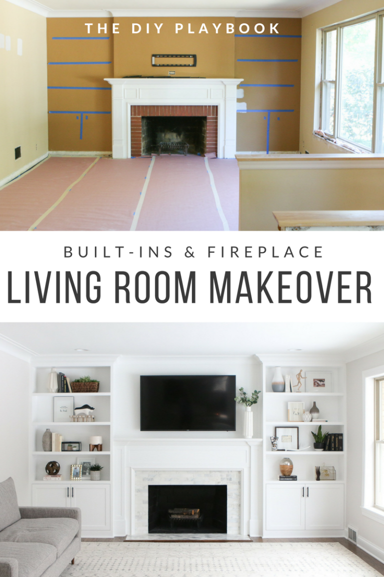 White Built-Ins Around the Fireplace: Before and After images