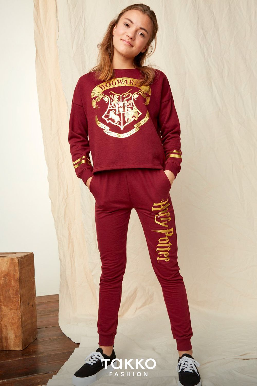 Kleidung Mit Harry Potter Fur Madchen Dunkelroter Schlafanzug Aus Sweatshirt Und Langer Hose Kind Mode Kindermode Hosen