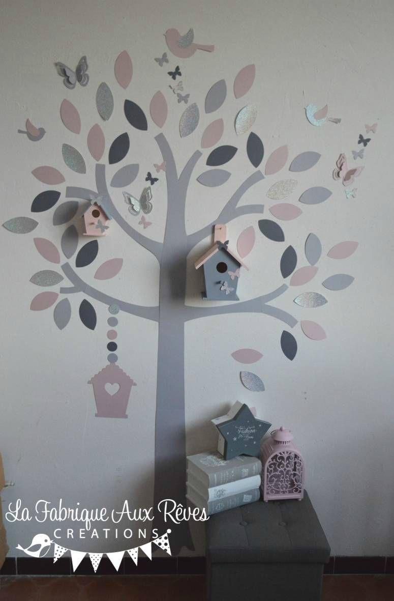 stickers arbre rose poudré argent gris clair gris anthracite