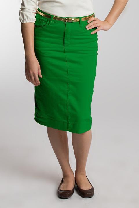 6e061f82a Kelly Green Denim Skirt | Seasonal in 2019 | Red denim skirt, Black ...