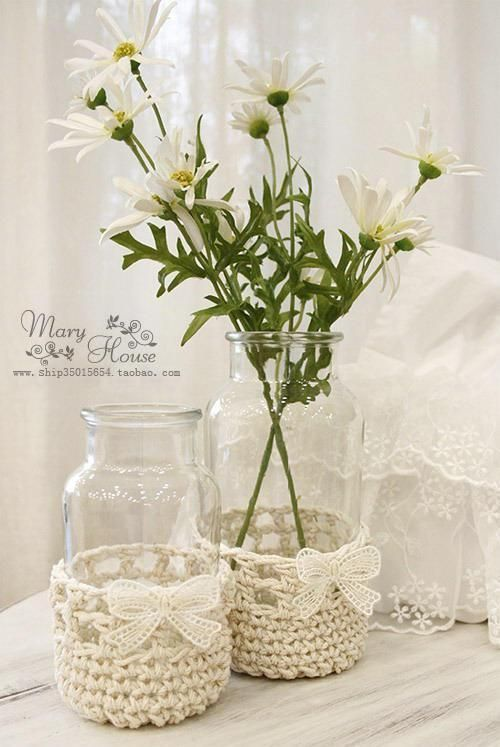 Häkel hübsche Hüllen für Gläser, die du als anheimelnd aussehende ...