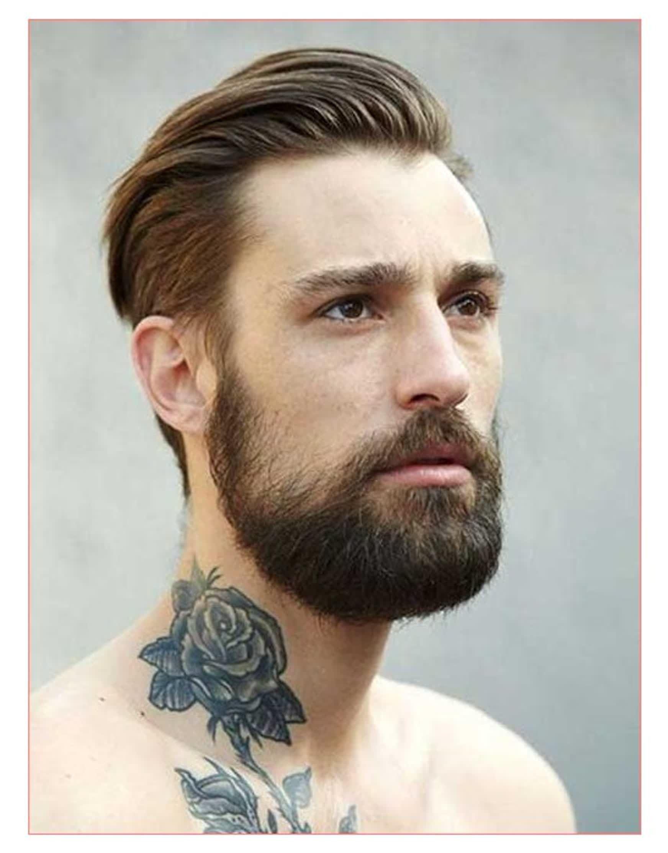 These Most Effective Mens Hairstyles Long On Top And Back Tatuado Barbudo Barba Lisa Tatuagem De Rosa No Pescoco
