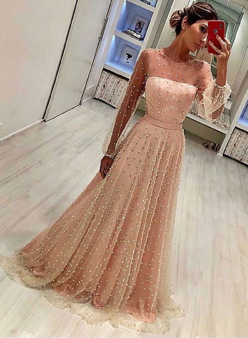 Stylish Champagne Tulle Long Sleeve Pearl Prom Dress Formal Dress From Sofiedress O Prom Dresses Long With Sleeves Prom Dresses With Sleeves Prom Dresses Lace [ 1091 x 800 Pixel ]