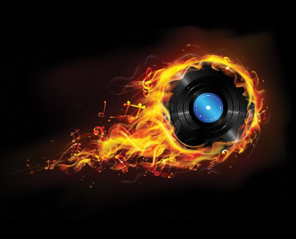 Flaming Vinyl Record Music Background - https://gooloc.com/flaming-vinyl-record-music-background/