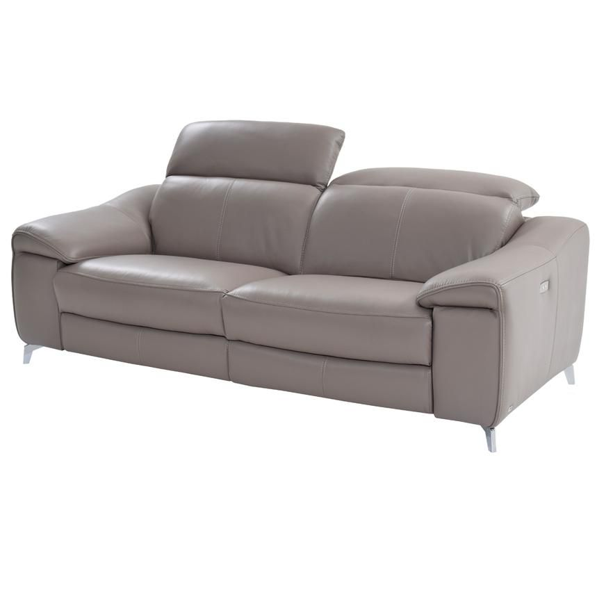 Gaspy Gray 85 Quot Power Motion Duo Recliner Leather Sofa