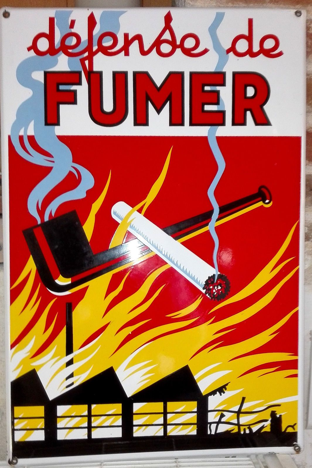 Belle Plaque Emaill E Peu Commune Defense De Fumer Superbe Tat