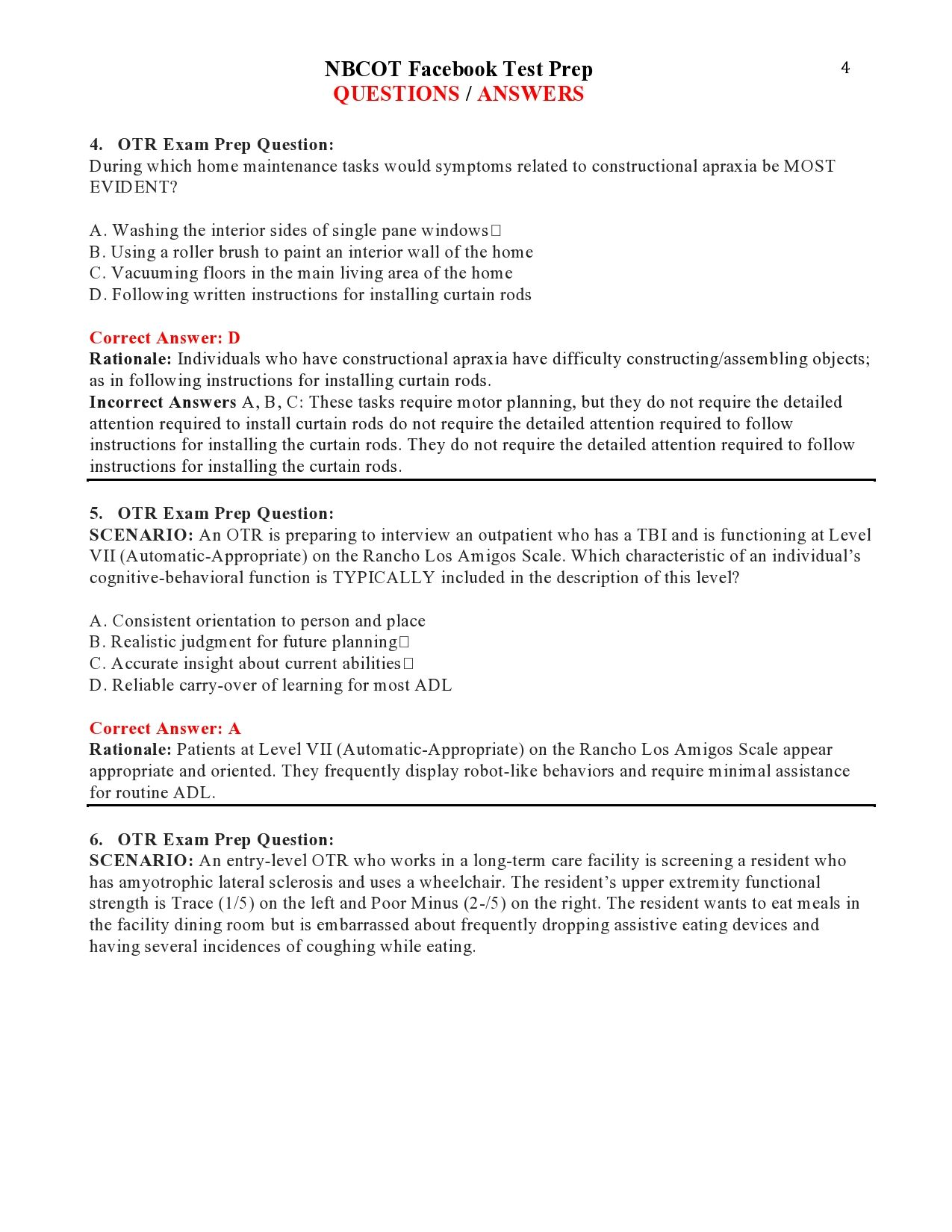Nbcot Facebook Test Prep Questions Answers Page 4