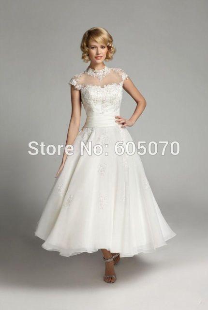 short vintage wedding dress bridal dress tea length cap sleeves with ...