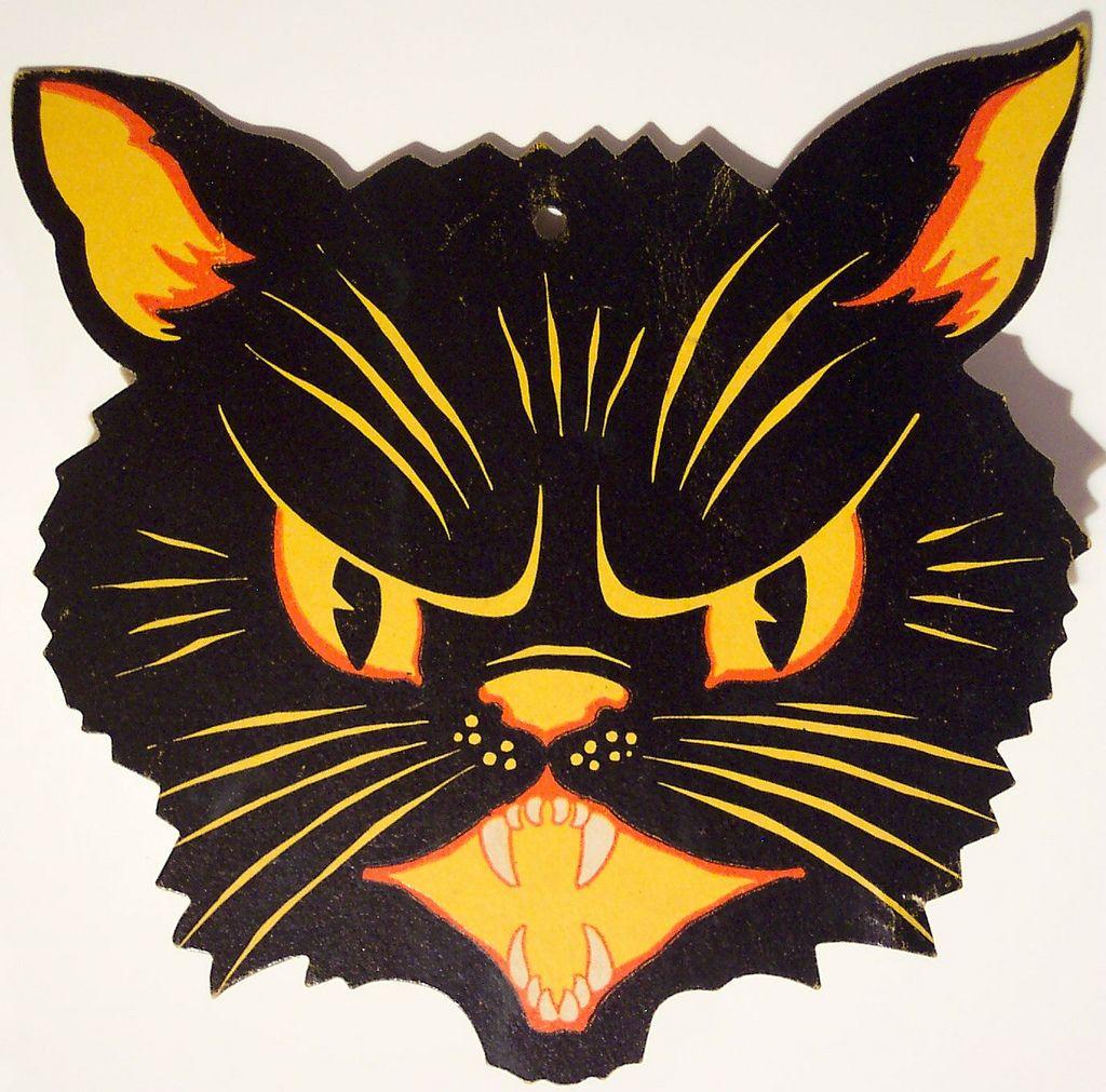 Vintage Halloween Diecut cat head | Vintage halloween and ...