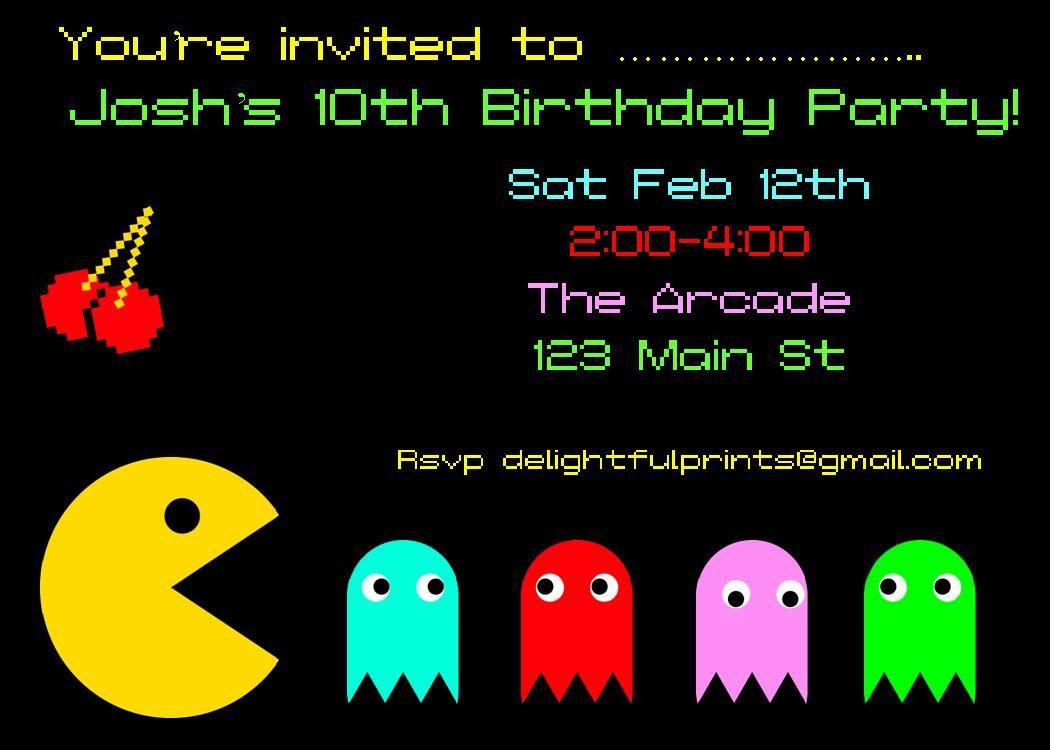 pacman atari invitation diy you print customized card by 2fungraphics 1000 via etsy - Customized Party Invitations