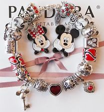 Authentic Pandora Silver Charm Bracelet With Minnie Mickey Mouse Charms Beads