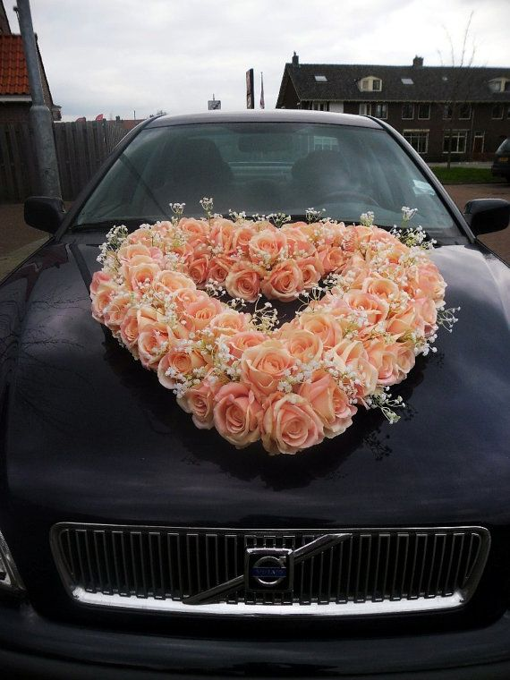 Wedding Car Decoration Jumbo Heart Of Pink Silk Roses And Baby