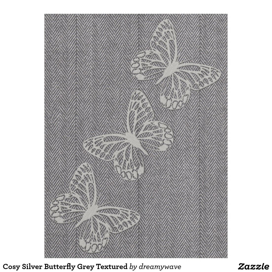 Cosy Silver Butterfly Grey Textured Fleece Blanket