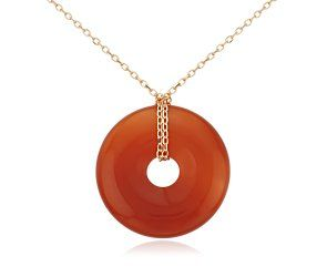 Red Agate Open Disc Necklace in 14k Yellow Gold