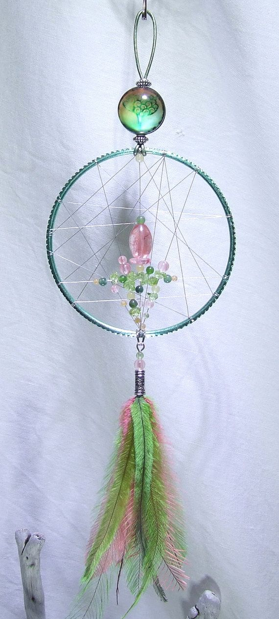 SALE 10% Off Tree of Life Dream Catcher Wall Hanging Cherry Quartz Peridot Yellow Honey Jade Green Moss Agate Abundance Amulet Watermelon