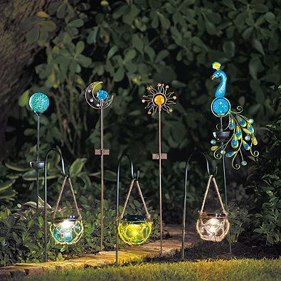Solar Powered Metal And Fused Glass Peacock Garden Stake