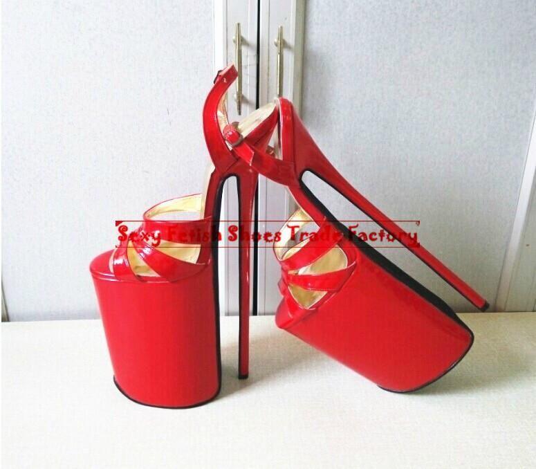0edbc7d8d466 12inch High Heels Sexy Shoes Genuine Leather Stiletto Heel Sandals ...