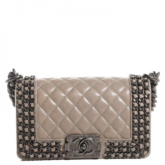 Finn Chanel Boy Small Calfskin Flap With Interlaced Chains Beige