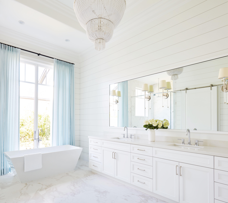 Light And Bright Master Bath Kara Hebert Interiors Free Standing Bath Tub Bathroom Inspiration Bathroom Chandelier