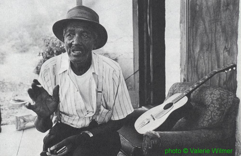 Willie Guy Rainey, Palmetto, Georgia, September 1978; source: Blues Unlimited 133 (January/February 1979), p. 16; photographer: Valerie Wilmer
