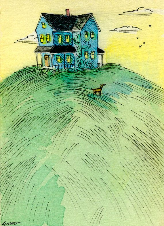 e1ca339fb2a71 Original ACEO Painting -- House on the hill | Nicole Wong ...