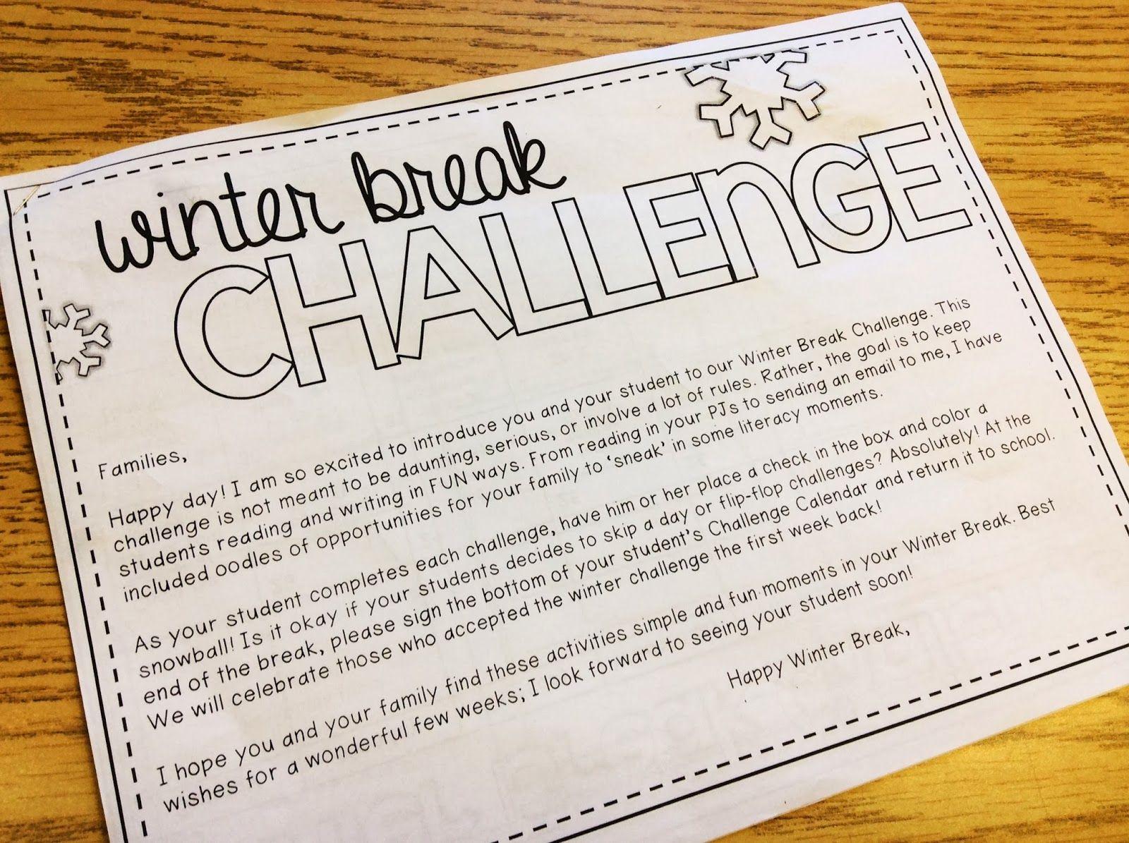 Winter Break Challenge Re Cap