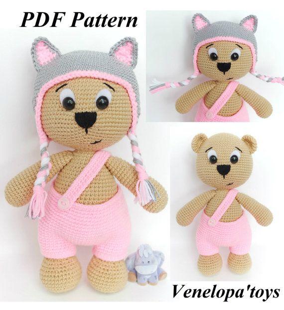 Pattern Bear with Cat cap, amigurumi crochet bear, crochet bear ...