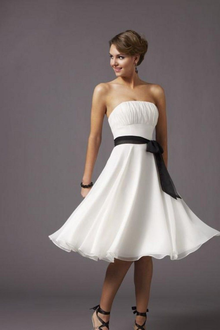 Buy bridesmaid dresses a line strapless knee length belt chiffon