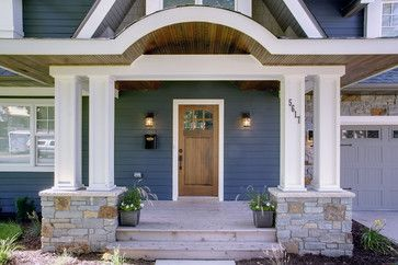 Dark Blue House Exterior With Stone Porch Google Search A