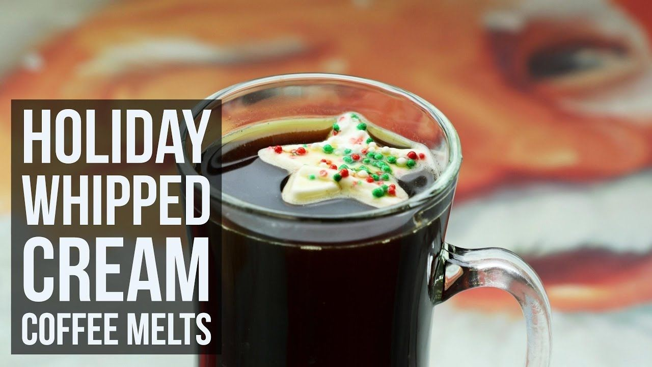 Holiday whipped cream coffee melts christmas drink