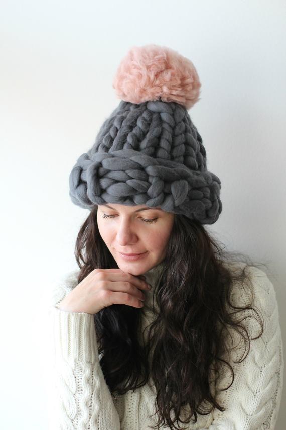 782e73c15d7 Gray Chunky knit hat with pink pom pom
