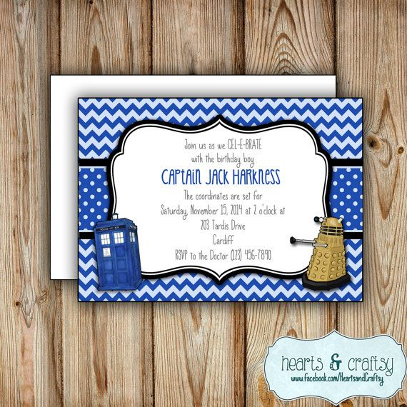 Personalized Printable Doctor Who Party Invitation - Doctor Who Birthday Invitation, by HeartsCraftsy
