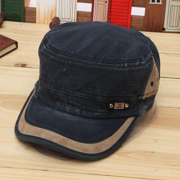 74b0f3498ff Man Woman Vintage Military Washed Cadet Hat Army Plain Flat Cap ...