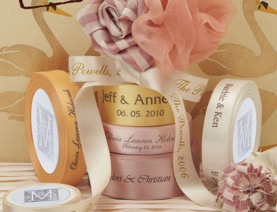 Personalized Satin Printed Ribbon For Weddings Favors