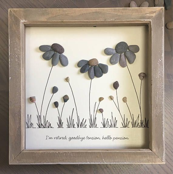 Retirement gift Pebble Art Flower special gift Picture | Etsy