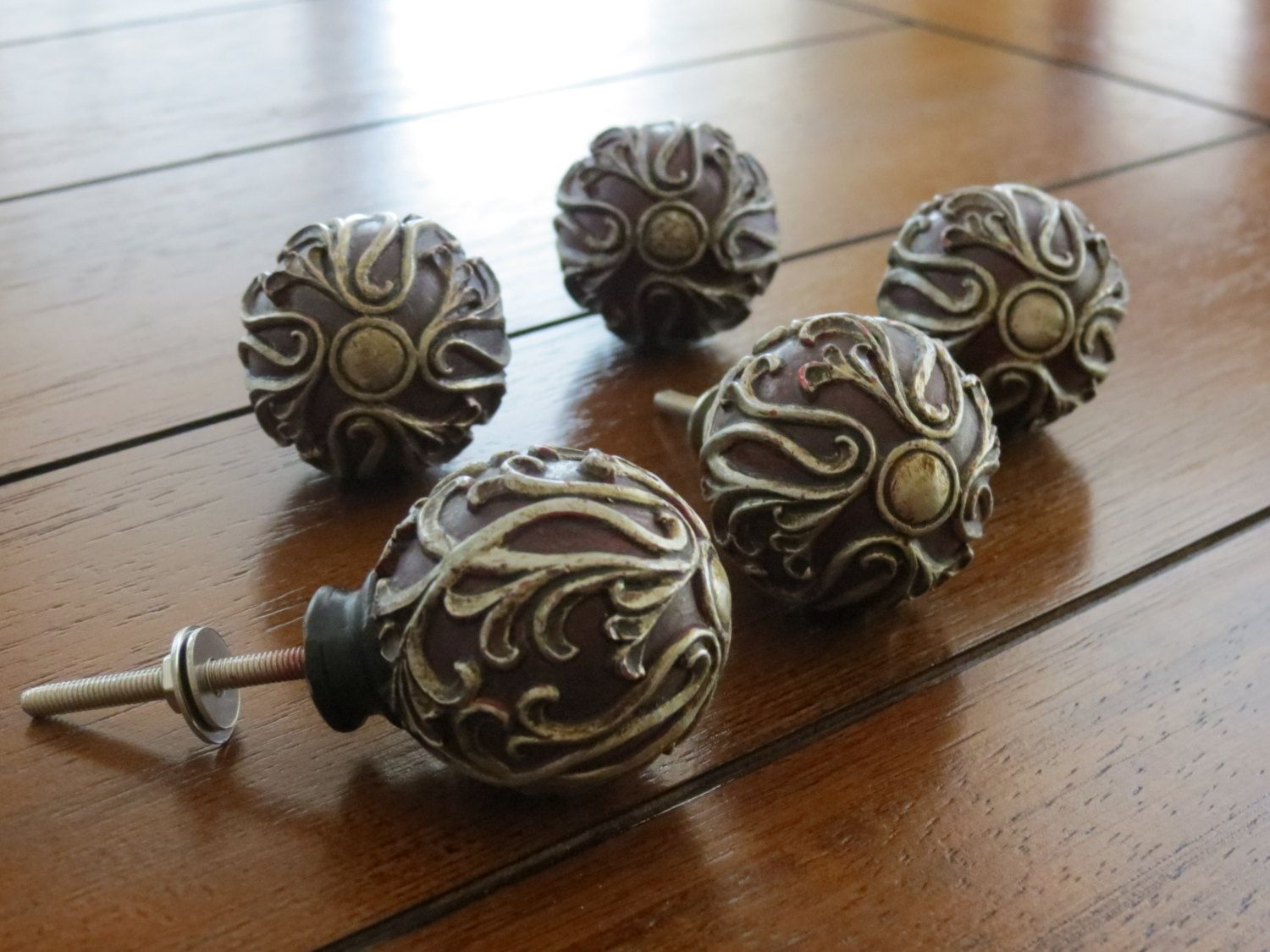 Red Resin Knob with Pewter Scroll/ Dresser or by VeritasInspired ...