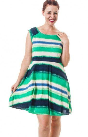 Round neck short sleeve gradiant stripe skater dress. Wear ...
