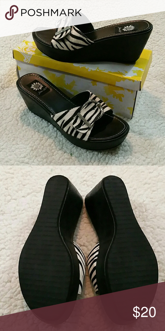 ef416cb92 These feature wedge heels and rhinestone buckles on leather uppers. These  shoes are brand new